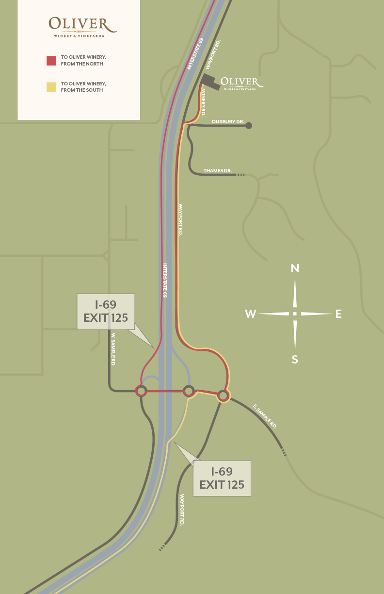 Illustrated map to get to Oliver Winery from the north and south.