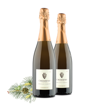 Enjoy Creekbend Vidal Blanc Sparkling in a classic mimosa or on its own. Click to shop.